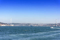 View Istanbul city and bodpshorus from the boat Royalty Free Stock Images