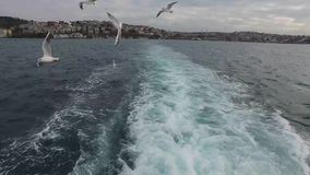View of Istanbul city from the sea, December 2016.  stock footage