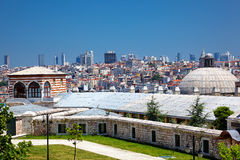 The view of the Istanbul from the courtyard of Suleymaniye Stock Photos