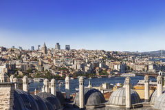 The view of Istanbul and the domes of the mosque Sulimaniya Stock Photos