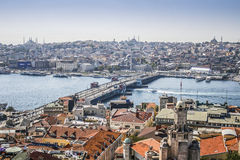 View on Istanbul and Galata bridge royalty free stock images