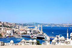 View of the Istanbul. View of the Galata Bridge, Golden Horn Bay, Bosphorus and districts Eminonu and Beyoglu in Istanbul, Turkey Stock Image