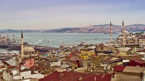 View of Istanbul with Galata Bridge and Yeni Cami Mosque, Turkey. Istanbul, Turkey - April 22, 2016: View of Istanbul with Galata Bridge and Yeni Cami Mosque stock footage