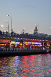 View of Istanbul and Galata tower and bridge at night Stock Image