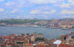 View of Istanbul from Galata Tower. Royalty Free Stock Image
