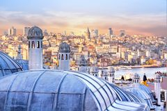 View of Istanbul, the Golden Horn Bay and the Hagia Sophia Royalty Free Stock Image
