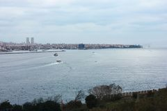 View of Istanbul from the Marmara sea stock image