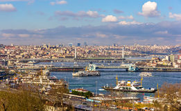 View of Istanbul over the Golden Horn inlet Royalty Free Stock Photography