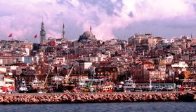 View of Istanbul from the Sea of Marmara. Sunny and Cloudy Day from the Sea of Marmara looking into a beautiful old section of Istanbul, Turkey Royalty Free Stock Photos