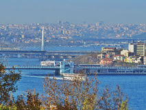 A view of Istanbul with Strait of Bosporus Royalty Free Stock Image