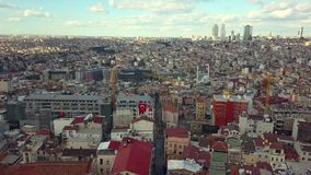 Lively Istanbul Turkey on a sunny day. View of Istanbul Turkey from the sky on a sunny day stock video
