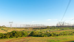 View of the Itaipu Dam power lines Royalty Free Stock Photo