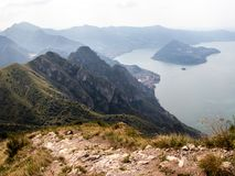 View of Italian Alpine Lake Iseo and the near Mountains, the lak royalty free stock image