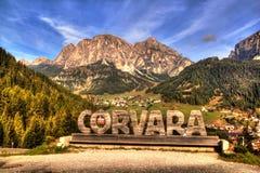 View of the Italian Alps and the city of Corvara, Italian Dolomites royalty free stock photography