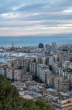 View of the italian city Genoa during sunset. Aerial view of the italian city genoa during sunset Royalty Free Stock Images