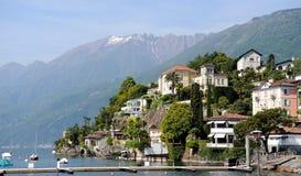 View of Italian city of Switzerland Ascona. Beautiful view of Italian city of Switzerland Ascona. Harbour and promenade stock photography