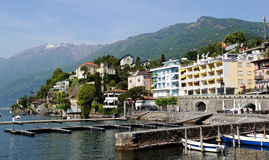 View of Italian city of Switzerland Ascona. Beautiful view of Italian city of Switzerland Ascona. Harbour and promenade stock photo