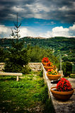 View of italian countryside from raised garden Royalty Free Stock Image