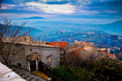 View of italian countryside with town Stock Photos