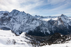 View of the Italian Dolomites in winter Royalty Free Stock Images