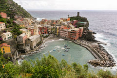 View of an Italian fishing village with colored houses Stock Images