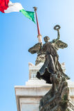 View of Italian national flag in front of Altare della Patria Royalty Free Stock Image