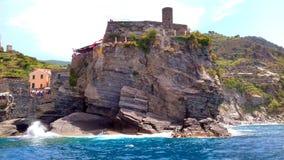 Italian Riviera Coastline. View of the Italian Riviera rocky coast from a boat Royalty Free Stock Photography