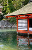 View of Itsukushima Shrine in Hiroshima, Japan. View of Itsukushima Shrine with the lake and garden in Hiroshima, Japan Stock Images