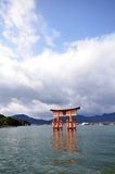 A view of Itsukushima shrine in Miyajima, Japan Stock Photo