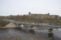 View of the Ivangorod and the border road bridge across the river Narva. Ivangorod Royalty Free Stock Photos