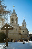 View of the Ivanovsky Convent, the bell towers on Zabelin Street Stock Photos