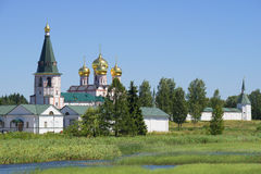 View of the Iversky monastery svyatoozersky a sunny day in july. Valdai, Novgorod region Royalty Free Stock Photography