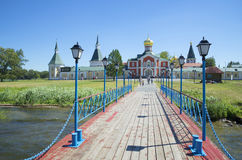View of the Iversky Svyatoozerskiy monastery from lake Valday Stock Photography