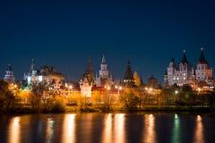 View on Izmaylovo's Kremlin from Izmaylovskiy island in the night. In auton 2015 Royalty Free Stock Photo