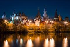 View on Izmaylovo's Kremlin from Izmaylovskiy island in the night. In autumn 2015 Royalty Free Stock Photo