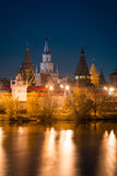 View on Izmaylovo's Kremlin from Izmaylovskiy island in the night Stock Photography