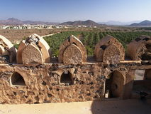 View from Jabreen Castle. Morning view over battlements of Jabreen Castle Royalty Free Stock Image