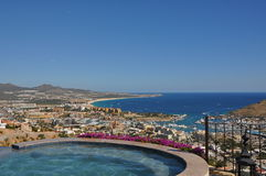 View from jacuzzi of Cabo San Lucas marina. View from Pedregal jacuzzi of the marina Cabo San Lucas mexico stock image