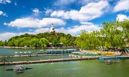 View of Jade Island with White Pagoda in Beihai Park - Beijing. China Royalty Free Stock Photo
