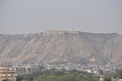 View of Jaipur Fort from Hawa Mahal Stock Photos