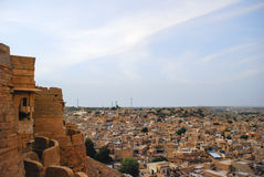 View of Jaisalmer from fort. A view of the golden city of Jaisalmer, located in Rajasthan, India Royalty Free Stock Image
