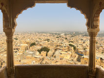 View From Jaisalmer Fort, India. Beautiful view from the balcony of a restaurant on the fort in Jaisalmer, Rajasthan, India Royalty Free Stock Photo