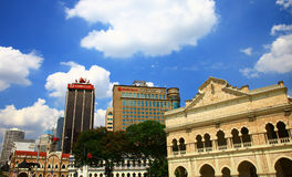 View of the Jalan Raja and Sultan Abdul Samad building in Kuala Lumpur. Royalty Free Stock Images
