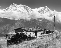 Chalet on pastureland and mount Annapurna Stock Photography