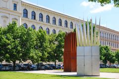 View of Jan Palach Memorial called the Sculptural composition of the Son�s and Mother�s Houses. PRAGUE, CZECH REPUBLIC - MAY 2017: View of Jan Palach royalty free stock image
