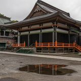 View on japanese buddhistic Honmyoji Temple during a rainy day. Located in the capital of Prefecture Kumamoto, Japan, Asia stock photography