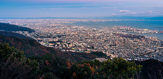 """View of Japanese cities in the Kansai region from Mt. Maya. The view is designated a """"Ten Million Dollar Night View."""" Stock Photo"""