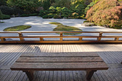 View of Japanese Sand Garden from Wooden Bench Royalty Free Stock Photos