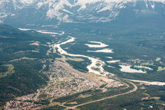 View of Jasper town from mountain top. View of Jasper and Athabasca River from Whistler Mountain, Alberta, Canada Stock Photography