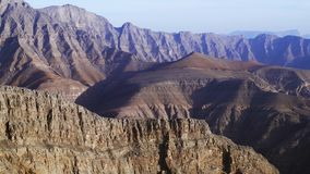 Jebel Jais zipline. View of Jebel Jais zipline with Hajar Mountains in the backdrop. Ras Al Khaimah, UAE stock footage